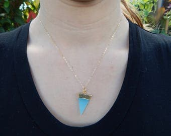 Blue and Gold Triangle Charm, Gold Filled Chain