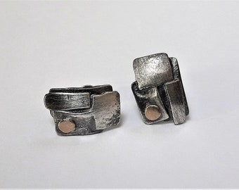 Hand made!!! Chic Stud Earrings Silver 925 + gold
