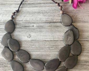 Tagua Nut Jewelry, Statement Necklace, Adjustable Necklace, Tagua Necklace, Fair Trade, Handmade, Gray Necklace, Boho, Valentine's