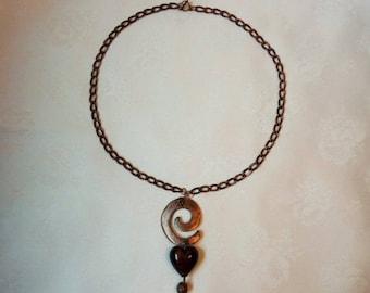 """Necklace """"Epsilon"""" copper metal / glass"""