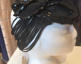 American 1930's Black Felt and Beaded Tilt Hat With Amazing Detail