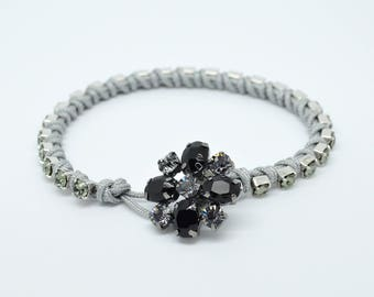 Swarovski  black diamond coloured cup chain and silver coloured macrame bracelet with Crystal flower clasp