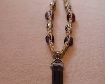Amethyst crystal hemp necklace