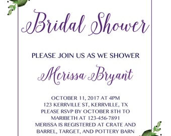 Purple Bridal Shower Invitation, Wedding Shower, Bridal Shower