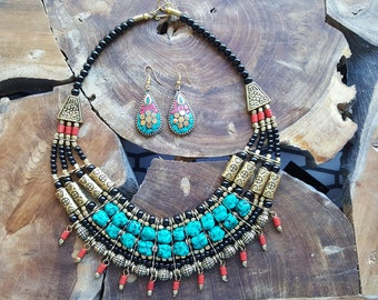 Handmade Tibetan Multi Strand Necklace Earrings Set