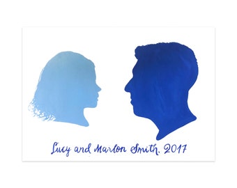 Painted Custom Silhouette Portrait of Family of 2, Painting, Art for Living Room or Bedroom, Personalized Gift, Original Artwork