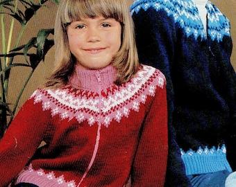 Boy / Girl Zipper Jacket, Knitted Pattern, Instant Download.