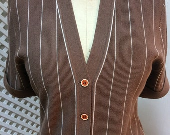 Vintage 60s Brown Striped Dress
