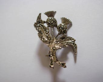 Vintage Thistle Brooch with Genuine Marcasites Scottish Theme 1960s