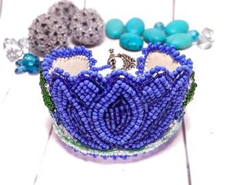 Bracelet Blue women flower Beadwork Original Bead blue jewelry Cuff beaded Luxury bracelet Purple bead Embroidery Fairytale gift Women cuff