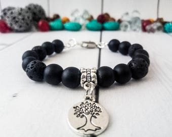 The tree of life Black bracelet Clothing gift Gemstone jewelry Genuine gemstone Shungite bracelet pendant Healing bracelet Black jewelry
