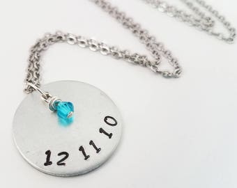 Birthdate Hand Stamped Metal Jewelry Birthstone Neckace First Baby Children Mother's Jewelry