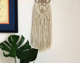 Small Seed of Life Macrame Wall Hanging Dreamcatcher with Lemurian Quartz Crystal, Medium Woven Wall Hanging, Dream Catcher, Sacred Geometry