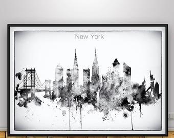 Black White New York Skyline, New York Poster, NYC, New York print, Home Decor, New York Wall art, New York city print, New York City