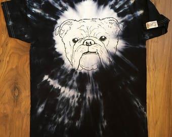 Ties dye, tie dye black to brown burnout, bulldog tie dye shirt, bulldog shirt, tattoo shirt