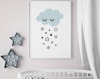 Cloud Nursery print, Nursery wall decor,Kids room decor, Nursery cloud art, Cute Cloud Nursery Print, Sleeping Cloud Art, Nursery printables