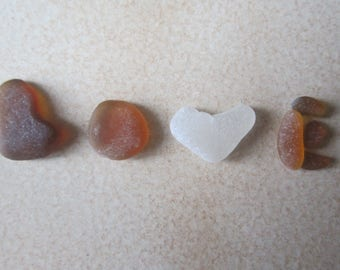 "pieces Sea Glass for crafts, ""LOVE"" Valentine*s day"