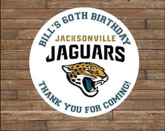 Personalized Football Stickers   Football Team Favor Tags    Football Birthday   Jacksonville Jaguars