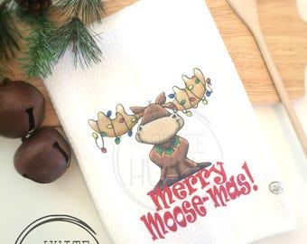 Merry Moose Mas, Merry Christmoose Towel, Christmas Kitchen Towel, Moose Christmas Decor, Kitchen Tea Towel, Christmas Towel, Xmass Decor