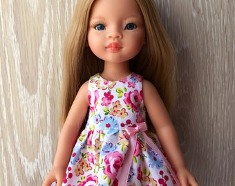 Clothes for Corolle Les Cheries, Paola Reina Doll Dress, Pink Flowers  Doll Dress