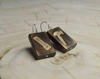 Boucles d'oreilles Rectangle Bois Récupéré et Argent - Outils