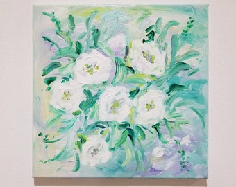 Original Flower painting/ Gift Decorating /Small canvas painting / mint yellow white