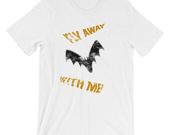 Fly Away With Me Distressed Short-Sleeve Unisex Cotton T-Shirt