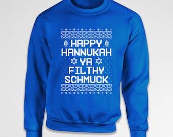 Funny Holiday Sweater Hanukkah Gifts Chanukah Jewish Clothing Funny Holiday Gifts Judaica Happy Hanukkah Hoodie Crewneck Sweatshirt TEP-580