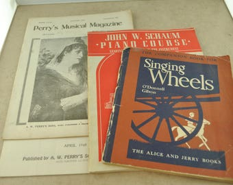 Lot of Sheet Music Booklets - Perry's Musical Magazine - Singing Wheels - John W. Schaum Piano Course