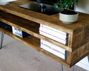 KRUD~Rustic TV Stand with Hairpin Legs~Handmade~Solid Wood~Scaffold Style~24 Colours~Industrial~Chunky~Rustic~Country~TV Stand~Cabinet