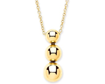 "9ct Yellow Gold Graduated Trilogy Ball Drop Pendant on 16""-18"" Chain"