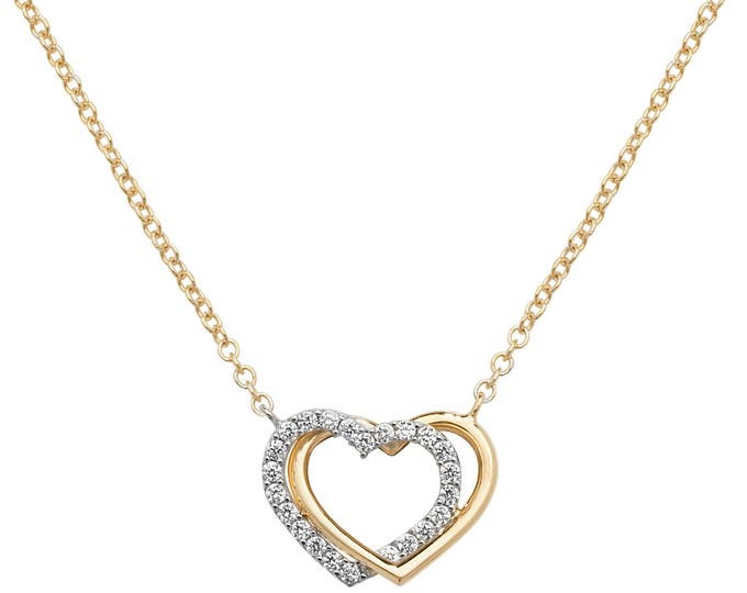 """9ct Yellow Gold & Cz Double Linked Hearts on 16""""-18"""" Necklace"""