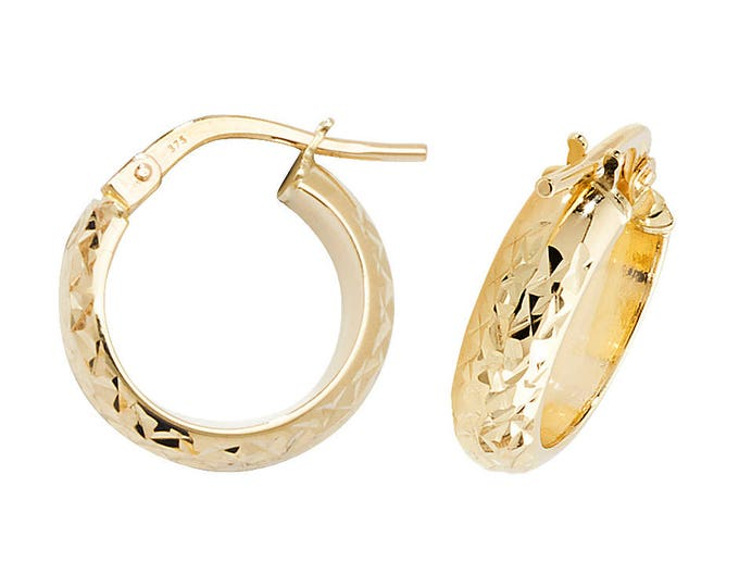 9ct Yellow Gold D Shape Engraved Hoop Earrings 10mm 15mm 20mm 25mm 30mm 40mm 50mm 60mm
