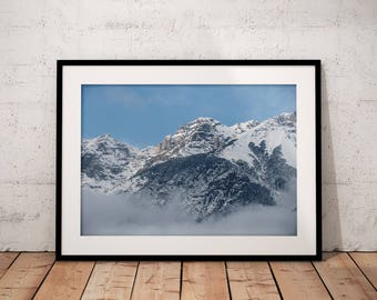 Winter Mountain Poster, Winter Wonderland Digital Download, Snow Mountain Printable, Blue and White Wall Art, Nature Photography, Home Decor