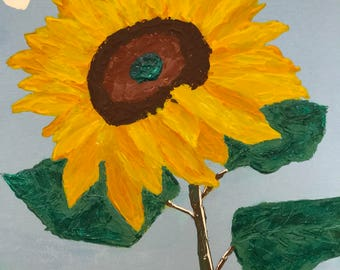 Sunflower - 8x10 inches - Original Acrylic Painting on Canvas using Pallet Knife
