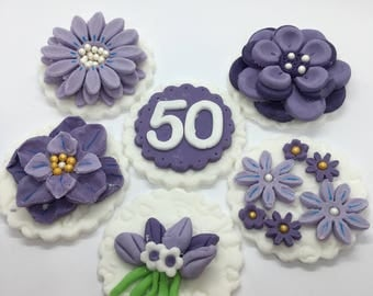 Violet Cupcake Toppers