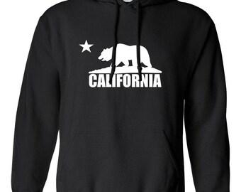 California Bear California Republic Printed Adult Unisex Hoodie Hooded Sweatshirt for Men and Women