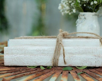 SET OF 5 Stacks of 3 Vintage Unbound Books Painted White Wrapped in Twine, Book Centerpiece, Rustic Wedding Centerpiece,White Book Stack