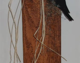 Wood Plank Pumpkin with Crow