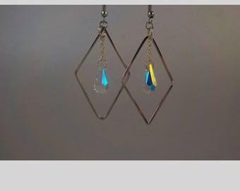 Silver diamond pendent w/Swarovski