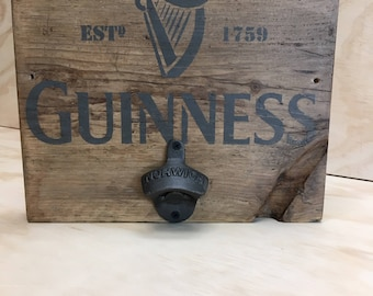 Guinness Bottle opener, mounted on rustic reclaimed timber and hand stencilled board