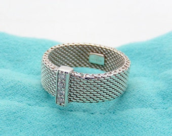 Tiffany sterling silver mesh ring size 6