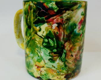 Hand painted marble effect ceramic mug