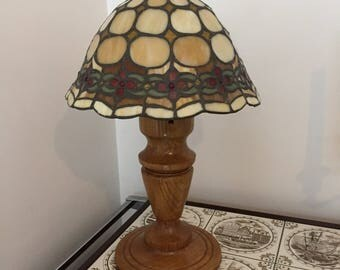 unique oak lamp with tiffany lampshade