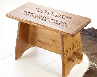 Personalised Wooden Stool, Childrens Stool, Kids Stool, Wooden Stool, Engraved Stool,