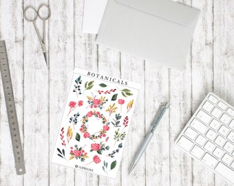 Sticker botanicals-watercolor flower and leaves illustrations