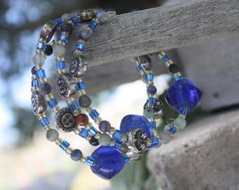 Celestial Blue Memory Wire Bracelet