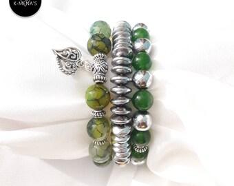 Green Stone bracelet Stack