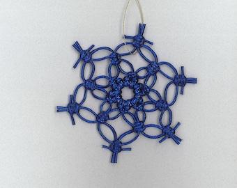 Handmade blue/purple sparkly craft cord macrame snowflake by TwistedandKnottyUS