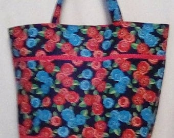 Roses are Pink and Blue tote bag.
